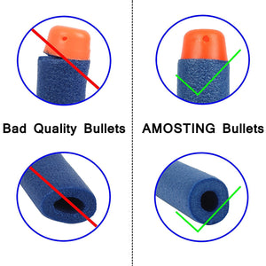 AMOSTING 300 PCS 2.84in (7.2cm) Foam Darts Universal Standard RefillRound Head Bullet Pack for Most Nerf N-strike Elite Series Blasters Toy Hand Gun - Blue