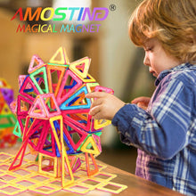 Load image into Gallery viewer, AMOSTING Magentic Building Tiles Building Blocks Educational Construction Building Toys for Boys and Girls Colorful Durable - 56 pcs