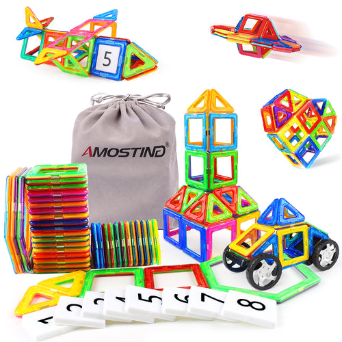 AMOSTING Magnetic Tiles Building Block Educational Toys for Toddlers with Car Wheels