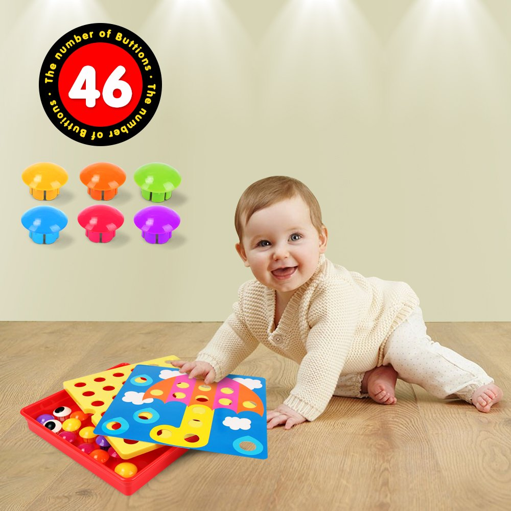AMOSTING Color Matching Mosaic Pegboard Early Learning ...