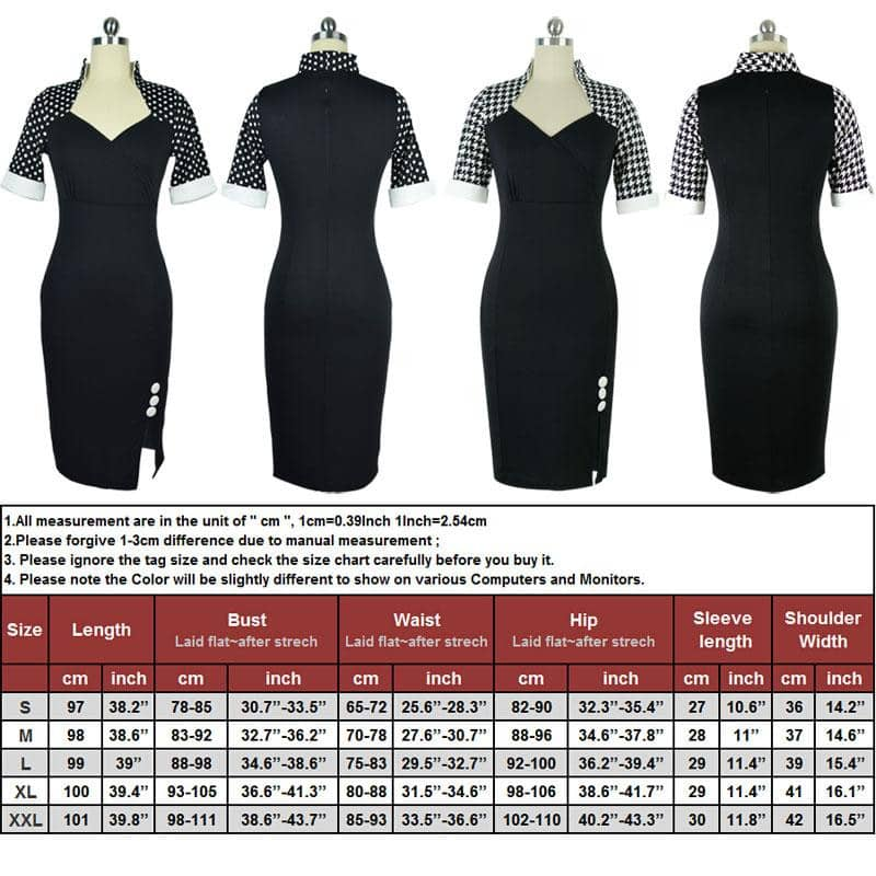 2019 Women Elegant Polka Dot V Neck Buttons Stand Collar Sheath Dress-LILLY OUTFITS-LILLY OUTFITS