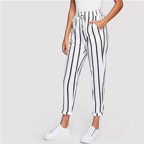 Black and White Casual Drawstring Carrot Pants
