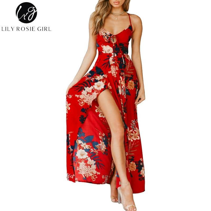 Red Floral Print Sexy Lace Up 2019