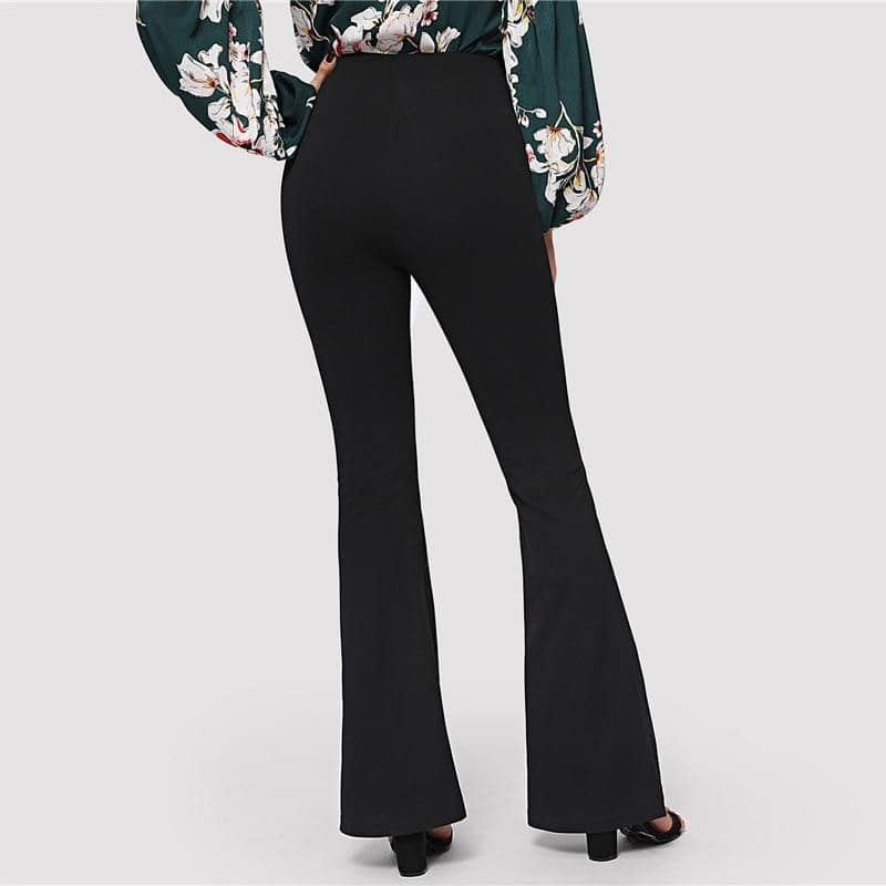 Black Elegant Office Lady Flare Hem Pants 2019-LILLY OUTFITS-LILLY OUTFITS
