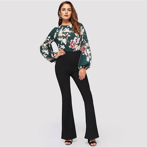 Black Elegant Office Lady Flare Hem Pants 2019