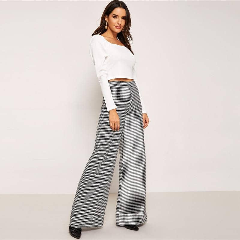 Black And White Zip Up Plaid Hounds tooth Pants