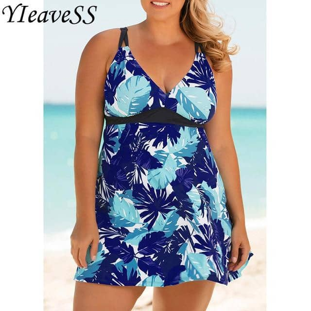 High Cut Swimdress Plus Size Tankini Swimsuits Floral print-Doremon store-LILLY OUTFITS