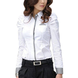 2019 Fashion Women Office White Shirt Full Puff Sleeve Shirt Tops-LILLY OUTFITS-LILLY OUTFITS