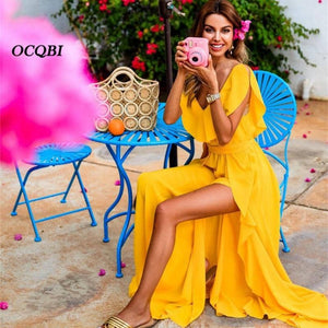 Sexy Fashion Tank Yellow Maxi Dress 2019