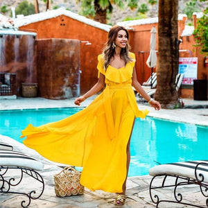 Sexy Fashion Tank Yellow Maxi Dress 2019-Doremon store-LILLY OUTFITS
