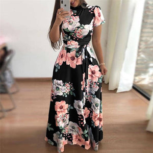 Floral Print Maxi Dress 2019-Doremon store-LILLY OUTFITS