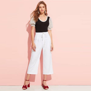 White Drawstring Waist Pleated Solid Crop Pants-LILLY OUTFITS-LILLY OUTFITS