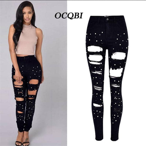 Embroidery Flares Distressed Ripped Jeans for Skinny Women