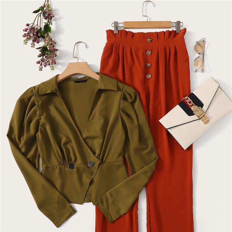 Paperbag Waist Single Breasted Pleated Pants-LILLY OUTFITS-LILLY OUTFITS