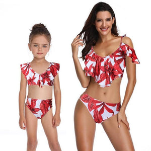 2019 2pcs Swimwear Summer Print Bikini Set Parent-Child Ruffle Tube Top-LILLY OUTFITS-LILLY OUTFITS