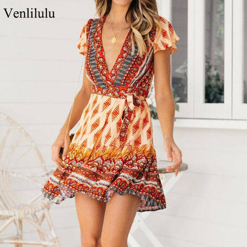 2019 Summer Boho Dress Women Print Mini Beach Dress