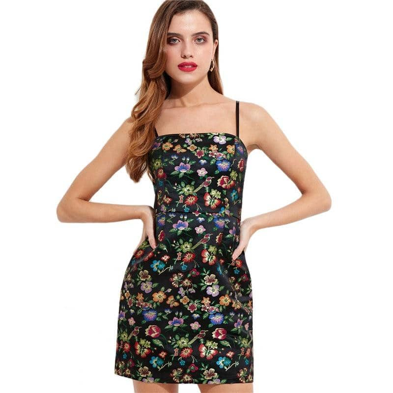 Adjustable Spaghetti Strap Tropical Floral Dress