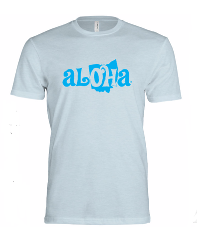 Aloha OH Unisex Fitted T-Shirt Ice Blue w/Blue Logo