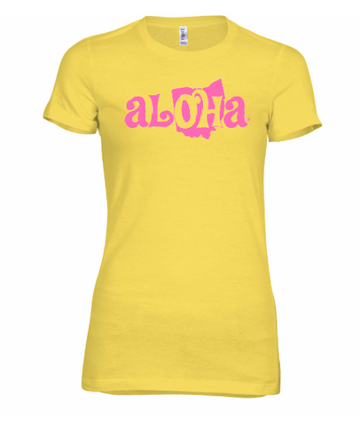 Aloha OH Ladies Fitted Tee Yellow w/Pink Logo