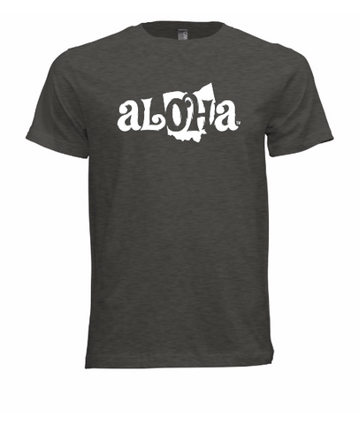 Aloha OH Unisex Fitted T-Shirt Heather Gray w/White Logo