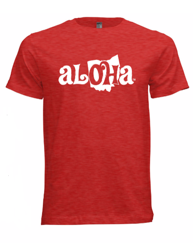Aloha OH Unisex Fitted T-Shirt Heather Red w/White Logo