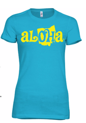 Aloha OH Ladies Fitted Tee Turquoise w/Yellow Logo