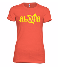 Aloha OH Ladies Fitted Tee Coral w/Yellow Logo