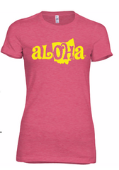 Aloha OH Ladies Fitted Tee Heather Raspberry w/Yellow Logo