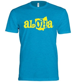 Aloha OH Unisex Fitted T-Shirt Turquoise w/Yellow Logo