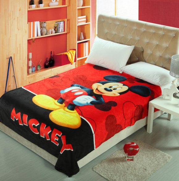Couverture plaid de bande dessinée Mickey Mouse Winnie l'ours