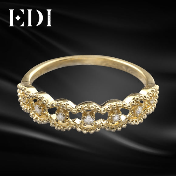 EDI Bague Empilable Bague 14K Or Jaune Bague 585 Or Massif Simulé Diamant