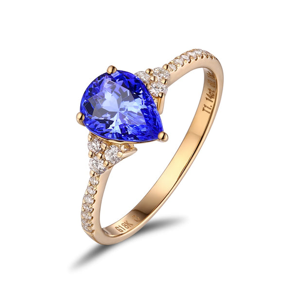 14KT / 585 Or Jaune 0.89ct Tanzanite Naturelle 0.19ct Naturel Rond Diamant