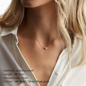 e-Manco Classic Stainless Steel Necklace Simple Imitation Pearl Pendant Choker Necklace for women Chain Necklaces