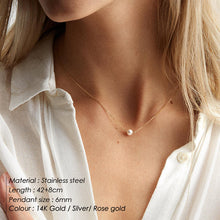 Load image into Gallery viewer, e-Manco Classic Stainless Steel Necklace Simple Imitation Pearl Pendant Choker Necklace for women Chain Necklaces