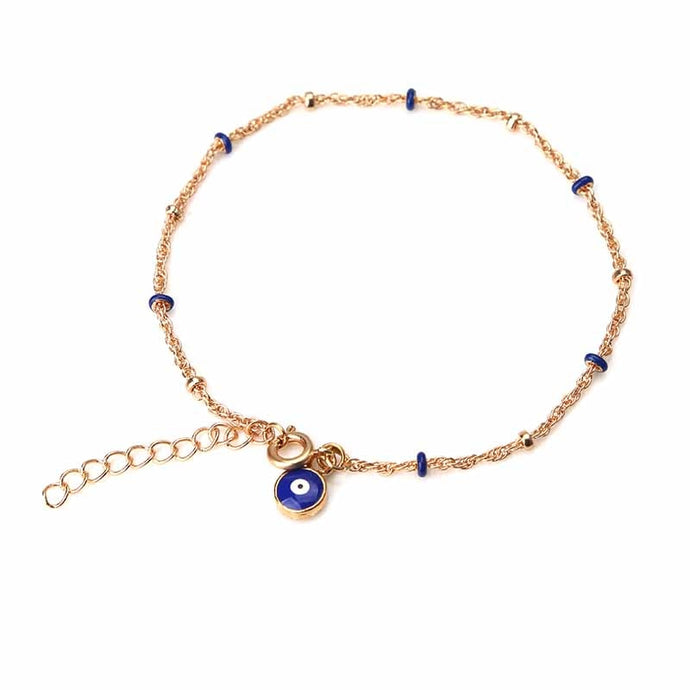 Evil Eye Conch Anklet Gold