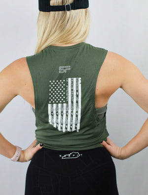Women's Warrior Flag Back Muscle Tee