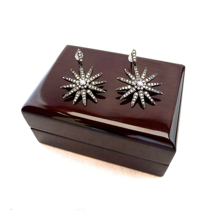 Diamond Drop Star Earrings
