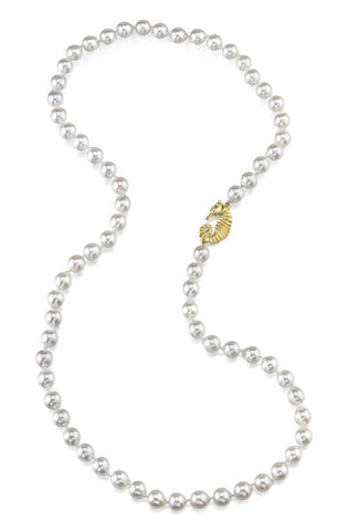 Cultured Baroque Japanese Pearl Strand with Seahorse