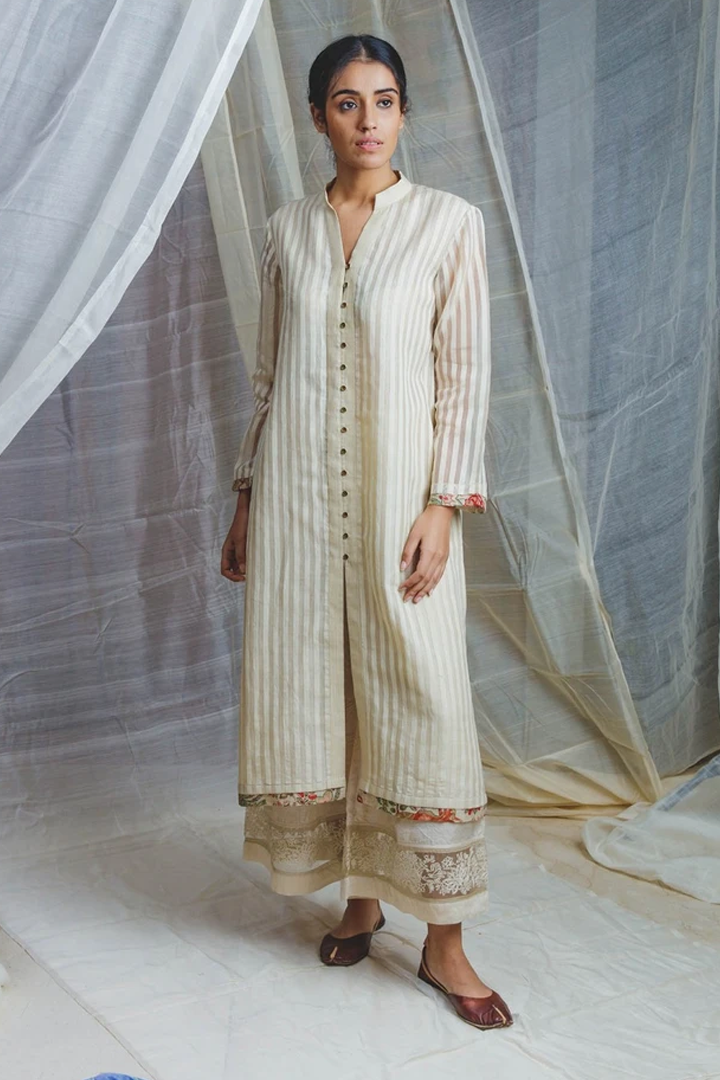 Handwoven ecru silk dhaari salma long button kurta