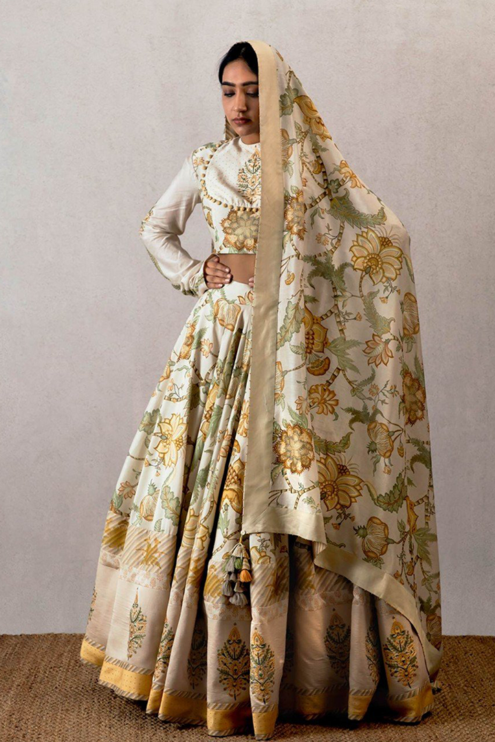 Yellow Sarson Cheent Lehenga Choli with Aari Waraq