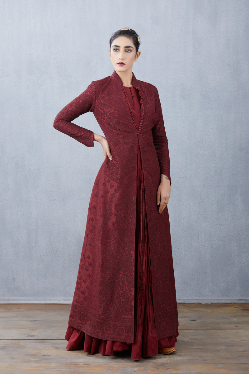 Maroon Rati Jaloba Dress set