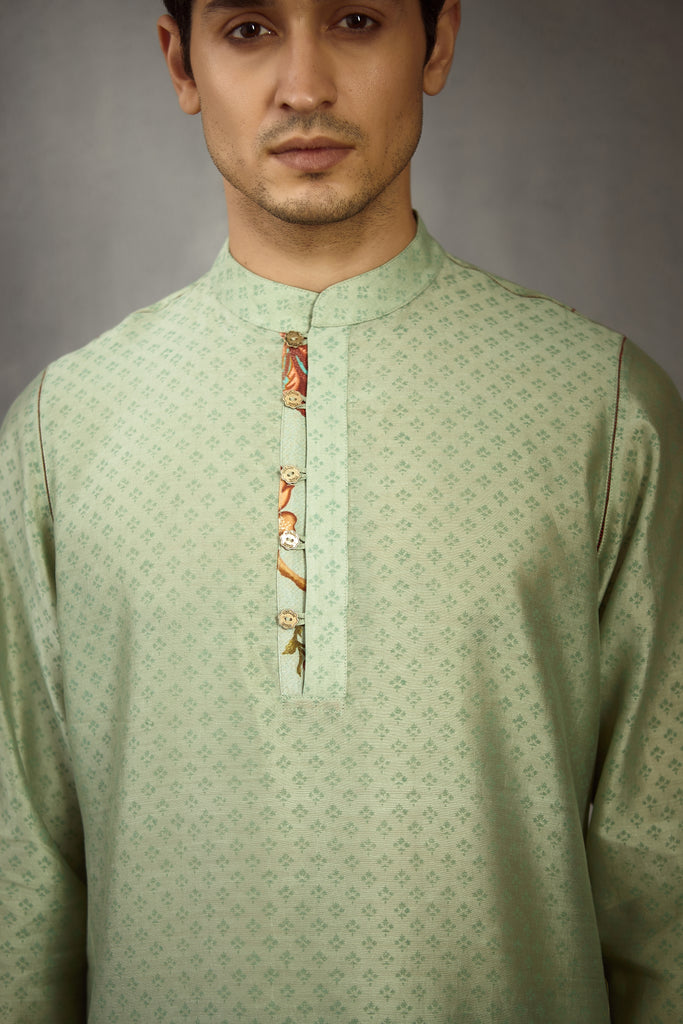 Champa Hand Blocked Printed Pravir Kurta Set