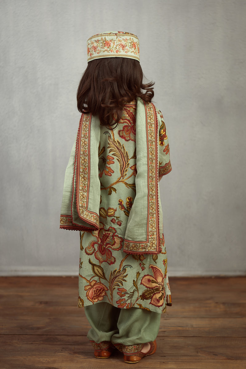 Champa Chintz Printed Kurta With Stripped Yolk Kids Wear Set