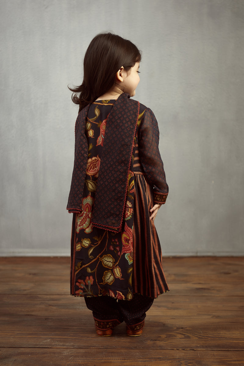 Nisha Printed kurti kids wear set
