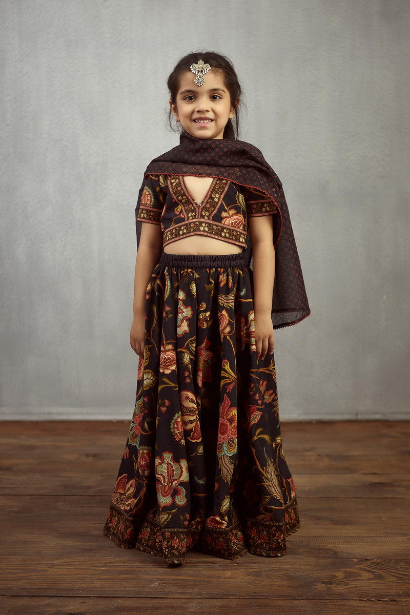 Nisha Chintz Printed Lehnga Kids Wear Set