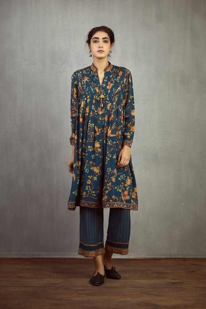 Neelam Chidiya printed pleated kurta and pants