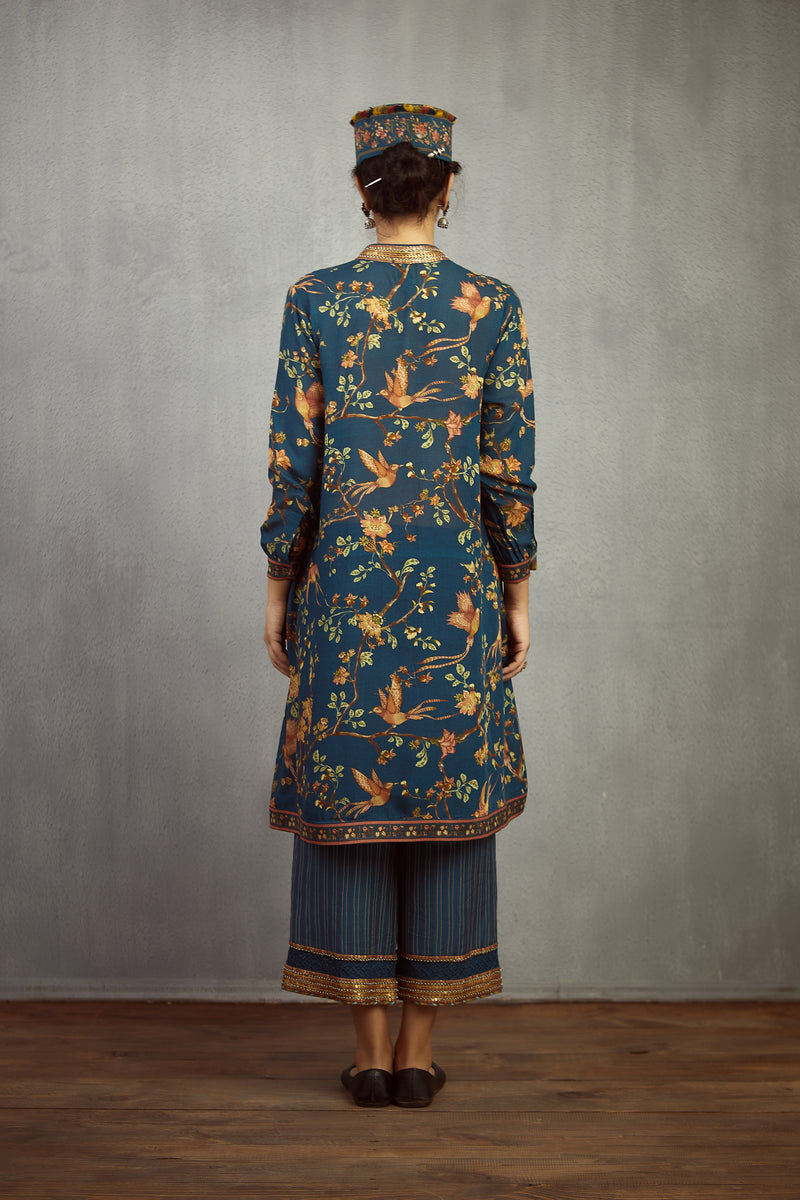 Neelam Chakori Chidiya Pleated Nazam Kurta and Pant