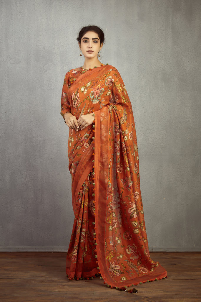 Narangi Jaal Chintz Chandni Saree Set