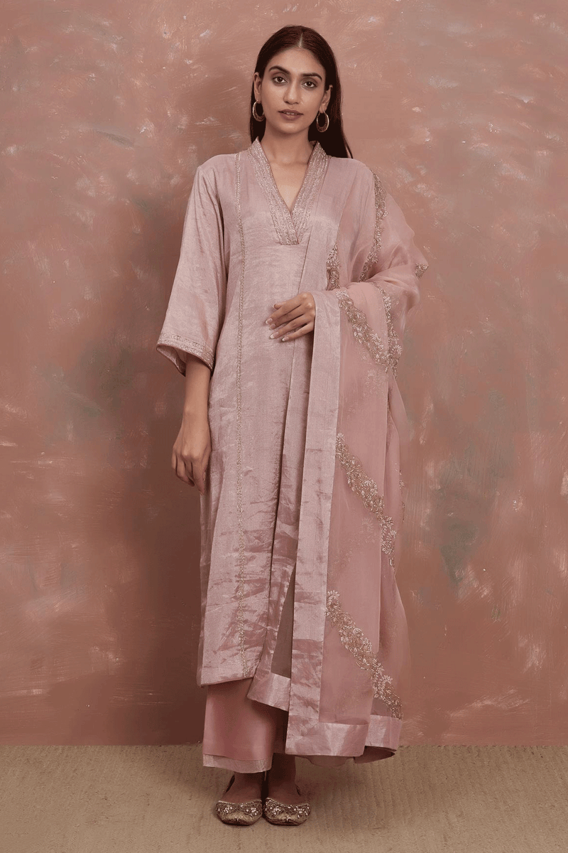 Gulabi Handwoven Tissue Kurta Pant and Dhaari Embroidered Odhani