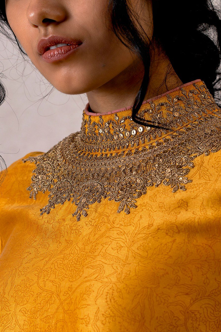 Sarson chanderi kameez with hand embroidered doori and dabka